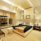 Modern otel şık yatak odası iç