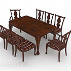 Chinese Wooden Dining Table Set