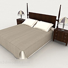 Čínská jednoduchá postel z masivního dřeva