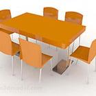 طقم كرسي طاولة طعام برتقالي