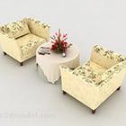 Mønstret gult bord og stol