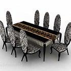 كرسي طاولة طعام لون أسود رمادى
