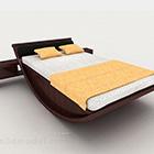 سرير مزدوج خشبي بني بسيط