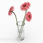 Pink Flowers Glass Vase Decoration