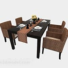 Rattan Chair Four Person Dining Table