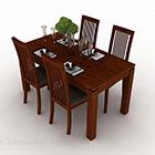 Meja Makan dan Kerusi Kayu Coklat