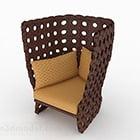 Sedia divano singolo intrecciata marrone