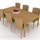 Tavolo da pranzo e sedia di legno rurali