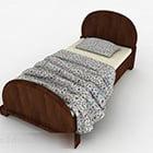 Design di mobili in legno per letto singolo rurale