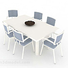 Semplice sedia da tavolo bianca blu