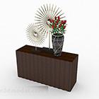 シンプルな木製テーブルとキャビネット