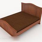 Jednoduchá dřevěná hnědá postel
