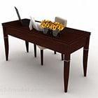Meja Kayu Segi Empat Dengan Pinggan mangkuk