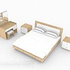 シンプルな木製の家のダブルベッド