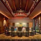 Puinen aasialainen tyyli ruokasali sisustus