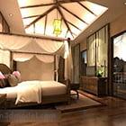 Interno camera da letto sud-est asiatico