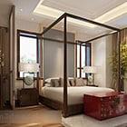 Interno camera da letto in stile sud-est asiatico