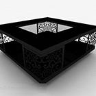 Kwadratowy czarny drewniany rzeźbiony stolik kawowy