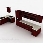 يو على شكل براون الأحمر مطبخ مجلس الوزراء التصميم