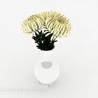 White Chrysanthemum Indoor Vase