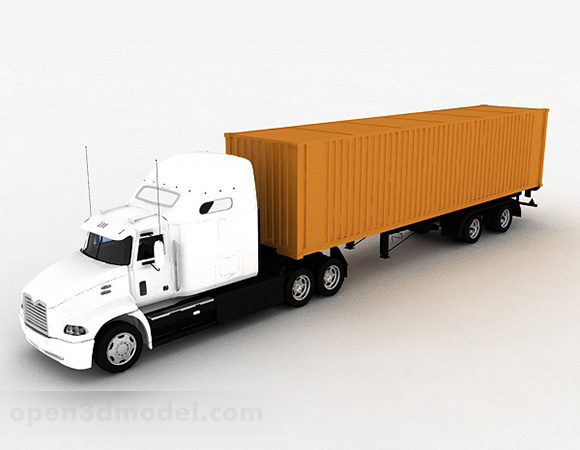 White Container Truck Vehicle