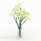 White Flower Interior Glass Vase