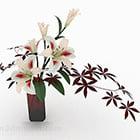 White Lily Flower Indoor Flower Pot