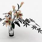 White Lily Interior Glass Vase