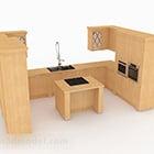 الخشب على شكل U مطبخ مجلس الوزراء مع الجزيرة