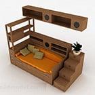 Dřevěná Postel S Kabinet