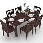 木製の茶色のダイニングテーブルと椅子の組み合わせ
