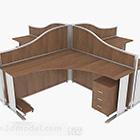 مكتب خشبي بني متعدد الأشخاص