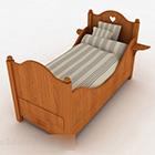 Drewniane łóżko pojedyncze dla dzieci