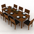 Trärektangulär matbordsset
