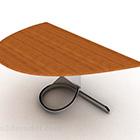 Scrivania semicircolare semplice in legno