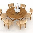 Meja Makan dan Kerusi Bulat Coklat