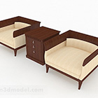 Yellow Wooden Single Sofa Combination