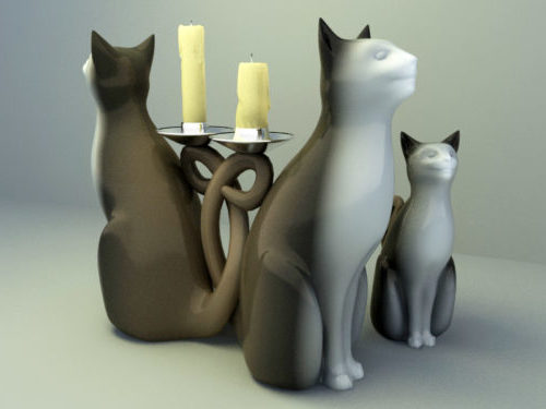 Decoración de estatuilla de gato