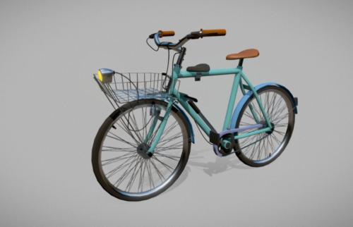 Bicicleta vintage con cesta delantera