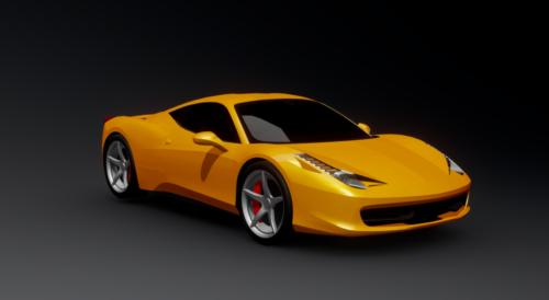 Italia Yellow Ferrari 458 Car Free 3d Model Fbx Open3dmodel 362417