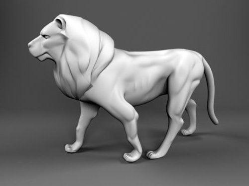 Puutarhan suuri leijona-patsas