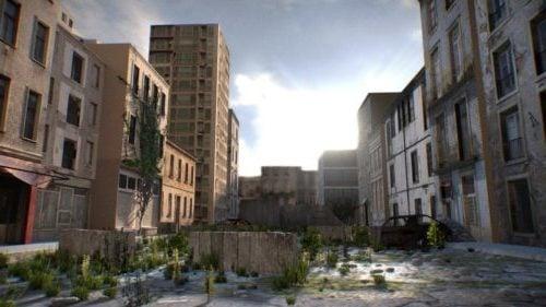 Realistinen kaupungin ulkokuvaus