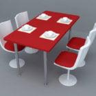 Red White Modern Dining Set