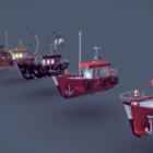 Lowpoly جمع سفينة الأسماك
