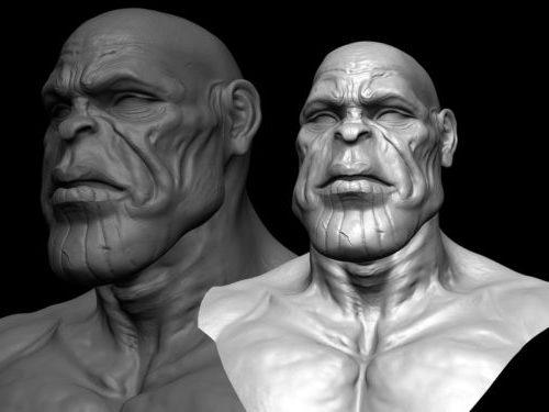 Escultura de cabeza de Thanos
