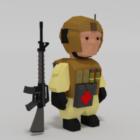Lowpoly Rigged Cartoon Soldat