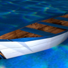 Vit träbåt