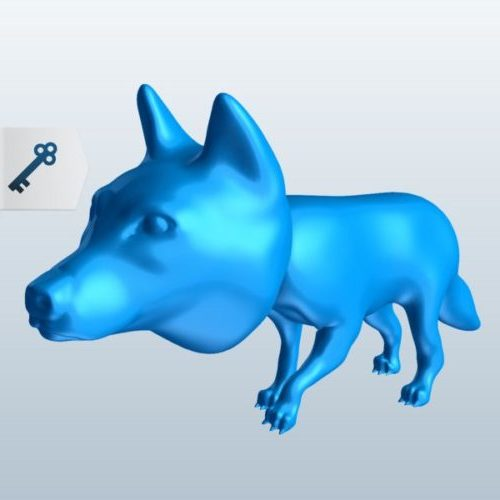 Wolf Big Head Lowpoly