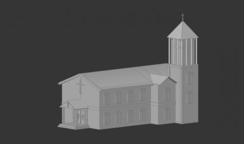 Kirche Lowpoly Building