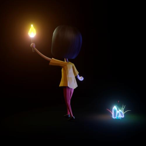 فتاة الكرتون مع شمعة